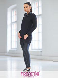 LISA-01 fekete bőrhatású női leggings main image