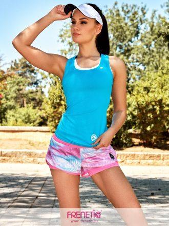 türkizkék női fitness trikó