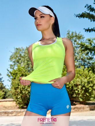 neon zöld fitness trikó türkizkék short
