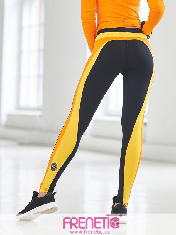 Frenetic fekete sport leggings narancs-; és napsárga szabás betétekkel