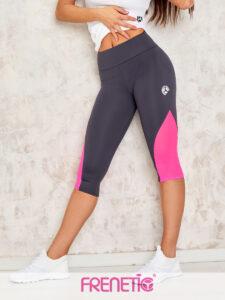 ORSY-03/20 szürke, pink tüll betétes fitness capri nadrág main image