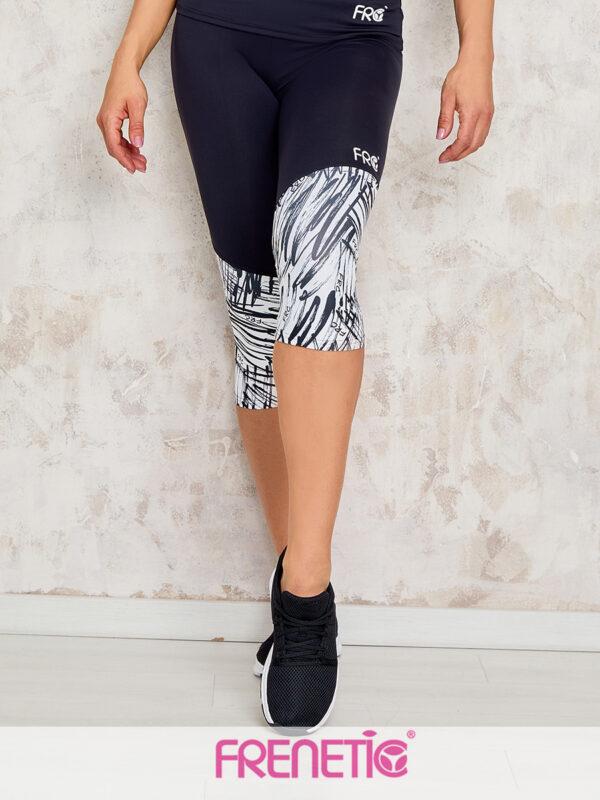 Egyedi fekete-fehér mintázatú magas derekú, nedvszívó, fitness nadrág.
