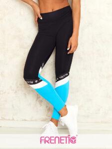 POWER-01/46 fekete, türkiz betétes sport leggings main image